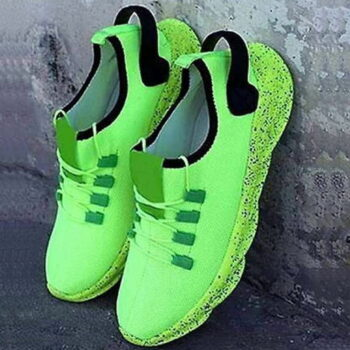Men's Stylish and Trendy Green Solid Mesh Sports Running Shoes