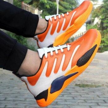 Orange Canvas Casual Sports Shoes