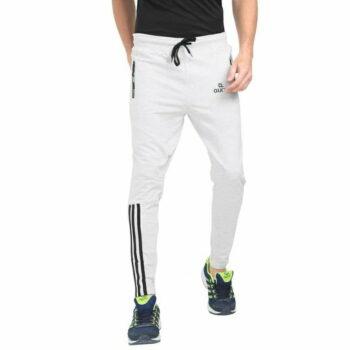 Stylish Men's Cotton Slim Fit Track Pant (White)
