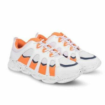 Trendy Orange Mesh Sports Shoes For Men