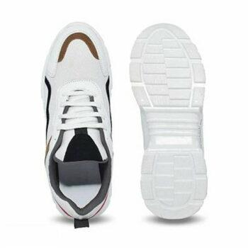 Trendy White Mesh Sports Shoes For Men