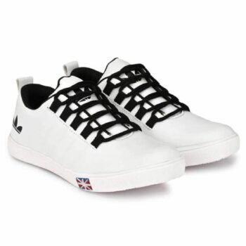 White Synthetic Causal Sneakers Shoes for Men