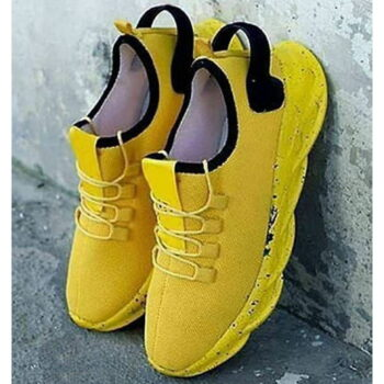 Yellow Men's Stylish and Trendy Yellow Solid Mesh Sports Running Shoes