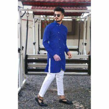 Blue Men's Cotton-Blend Kurta Pyjama SetBlack Men's Cotton-Blend Kurta Pyjama Set