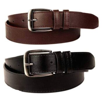 Combo of 2 Artificial Leather Formal Belts For Men