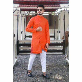 Orange Men's Cotton-Blend Kurta Pyjama SetBlack Men's Cotton-Blend Kurta Pyjama Set