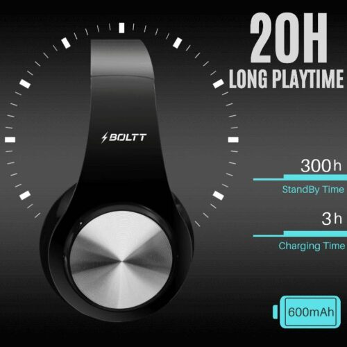 Fire Boltt Blast 1000 Hi Fi Stereo Over Ear Wireless Bluetooth Headphones with Foldable Earmuffs 20 Hours Playtime Built in Mic Black 4