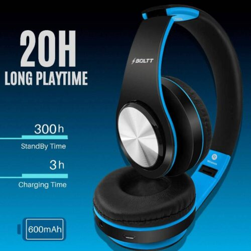 Fire Boltt Blast 1000 Hi Fi Stereo Over Ear Wireless Bluetooth Headphones with Foldable Earmuffs On Ear with 20 Hours Playtime Built in Mic Deep Bass Soft Ear Cushions Blue 1