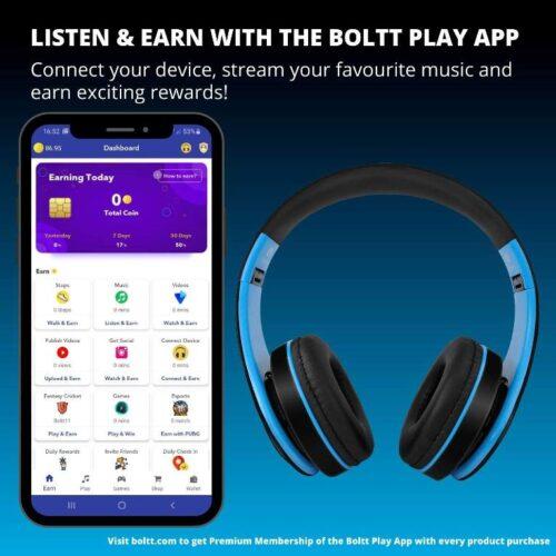 Fire Boltt Blast 1000 Hi Fi Stereo Over Ear Wireless Bluetooth Headphones with Foldable Earmuffs On Ear with 20 Hours Playtime Built in Mic Deep Bass Soft Ear Cushions Blue 2