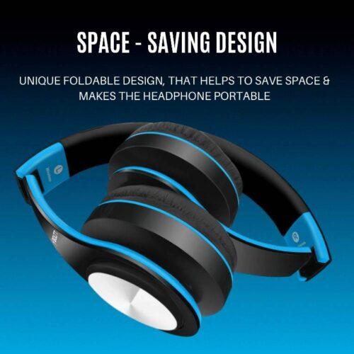 Fire Boltt Blast 1000 Hi Fi Stereo Over Ear Wireless Bluetooth Headphones with Foldable Earmuffs On Ear with 20 Hours Playtime Built in Mic Deep Bass Soft Ear Cushions Blue 5