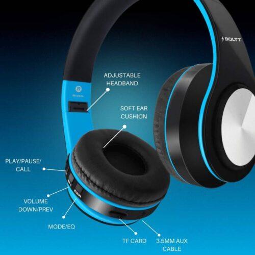 Fire Boltt Blast 1000 Hi Fi Stereo Over Ear Wireless Bluetooth Headphones with Foldable Earmuffs On Ear with 20 Hours Playtime Built in Mic Deep Bass Soft Ear Cushions Blue 6