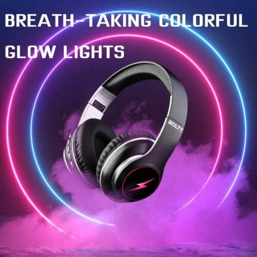 Fire Boltt Blast 1200 On Ear Bluetooth Headphones with Glow Lights 20H Playtime 1000mAh Battery and Shocking Bass and Built in Mic 1