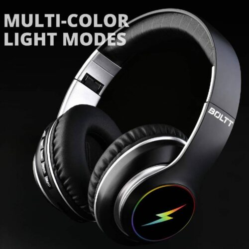 Fire Boltt Blast 1200 On Ear Bluetooth Headphones with Glow Lights 20H Playtime 1000mAh Battery and Shocking Bass and Built in Mic 2