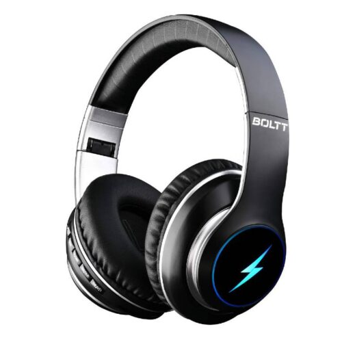 Fire Boltt Blast 1200 On Ear Bluetooth Headphones with Glow Lights 20H Playtime 1000mAh Battery and Shocking Bass and Built in Mic