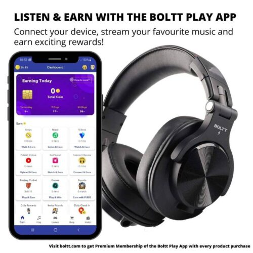 Fire Boltt Blast 1400 Over Ear Bluetooth Wireless Headphones with 25H Playtime Thumping Bass Lightweight Foldable Compact Design with Google Siri Voice Assistance 2