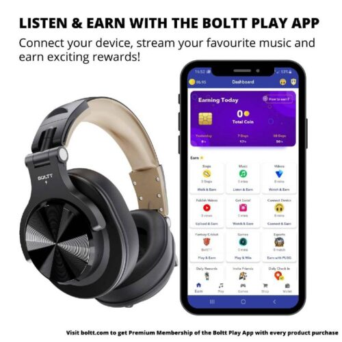 Fire Boltt Blast 1400 Over Ear Bluetooth Wireless Headphones with 25H Playtime Thumping Bass Lightweight Foldable Compact Design with Google Siri Voice Assistance in Built mic 40mm Drivers Beige 3