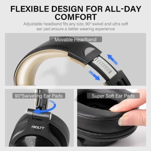 Fire Boltt Blast 1400 Over Ear Bluetooth Wireless Headphones with 25H Playtime Thumping Bass Lightweight Foldable Compact Design with Google Siri Voice Assistance in Built mic 40mm Drivers Beige 5