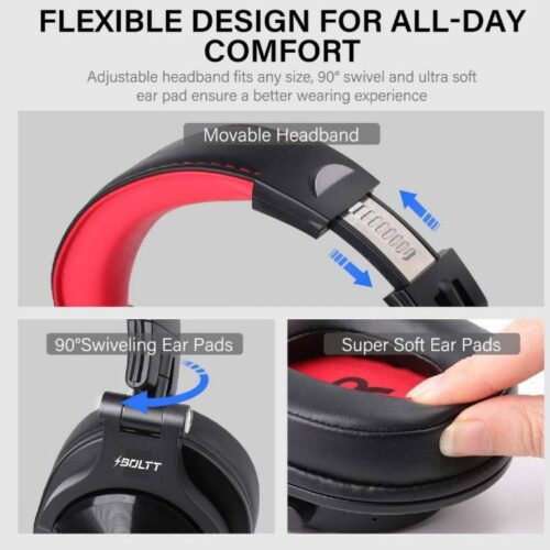 Fire Boltt Blast 1400 Over Ear Bluetooth Wireless Headphones with 25H Playtime Thumping Bass Lightweight Foldable Compact Design with Google Siri Voice Assistance in Built mic 40mm Drivers Red 7