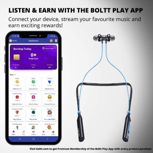 Boltt Fire Boltt Echo 1000 Neckband in Ear Bluetooth Earphones Hearable with Explosive Sound Google Siri Assistance IPX4 Waterproof with Mic Blue 2