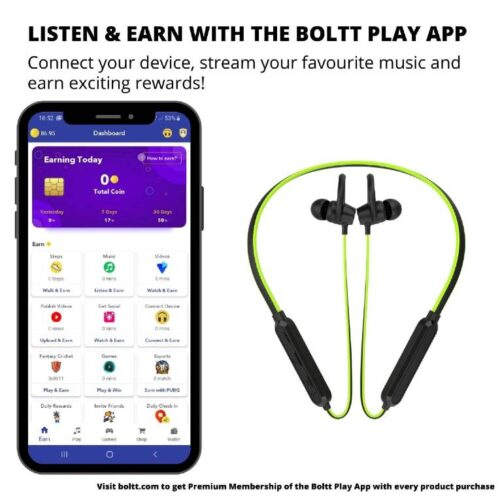 Boltt Fire Boltt Echo 1100 Neckband in Ear Bluetooth 5 0 Earphone Hearable with Incredible Sound Google Siri Assistance Adjustable Neckband Magnetic Earbuds Green 2