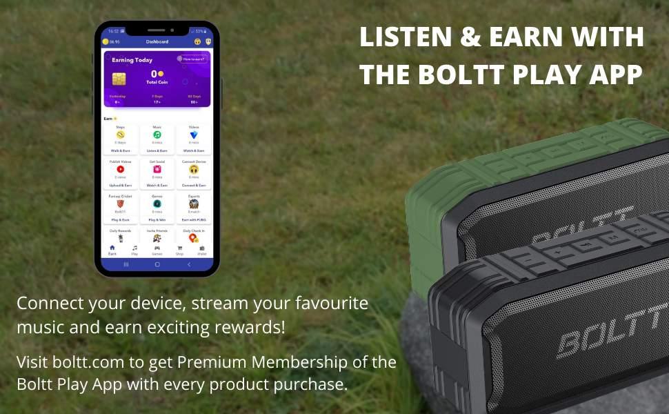 Boltt Fire-Boltt Xplode 1500 Portable Bluetooth Outdoor Speaker, IPX7 Waterproof & Weatherproof with Enhanced Bass (Green)