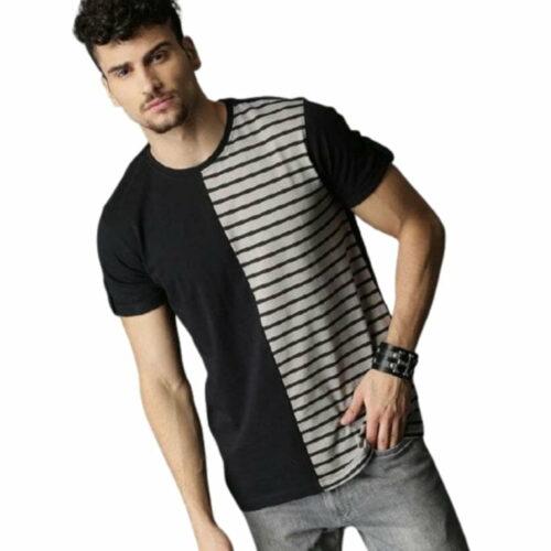 Cotton Mens Semi Striped Tshirt 1