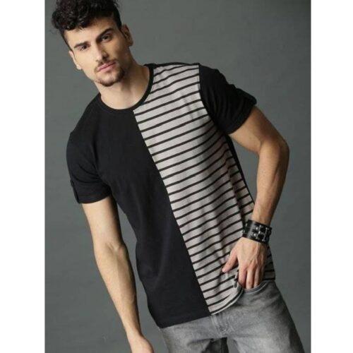 Cotton Men's Semi Striped Tshirt