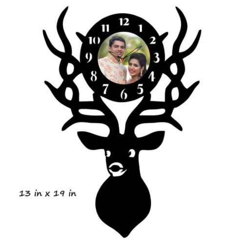 Customized Deer Photo Frame With Clock (13 in x 19 in)