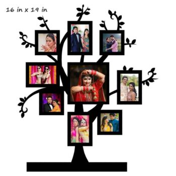 Customized Family Tree Photo Frame with 9 Photos (Wooden)
