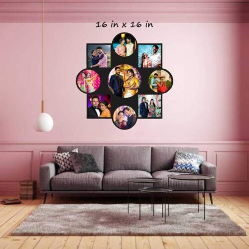 Customized Family Wall Clock with Wooden Photo Frame