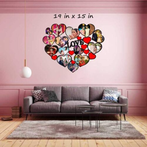 Customized Heart Shape Photo Frame - Love Collage Wooden Photo Frame (19 In x 15 iIn)