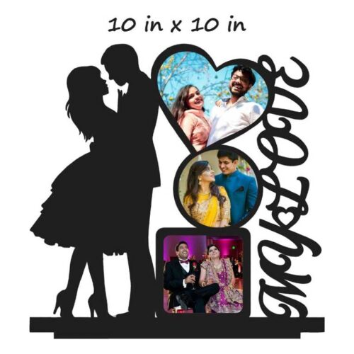 Customized My Love Wooden Table Photo Stand - 10 In x 10 In