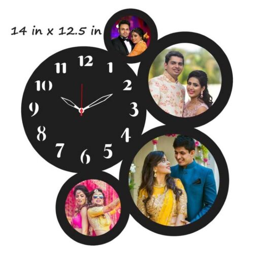 Customized Photo Frame With Clock 4 Photo - 14 In x 12.5 In