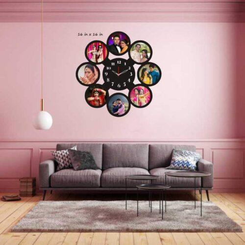 Customized Photo Frame with Clock - Round Shaped 8 Photo Frame Clock