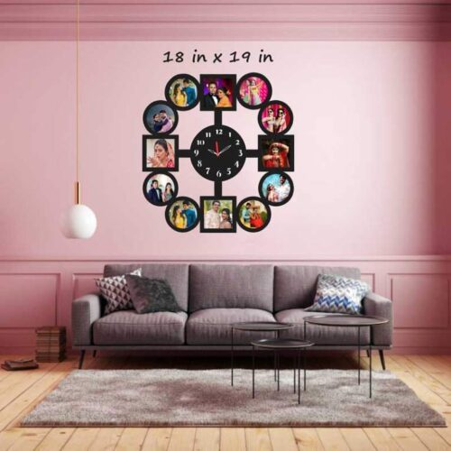 Customized Round Shape 11 Photos Wooden Frame with Clock 18 In x 19 In 2