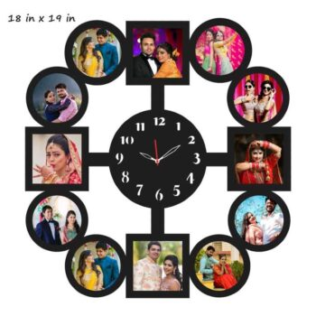 Customized Round Shape 11 Photos Wooden Frame with Clock (18 In x 19 In)