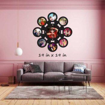 Customized Round Shape Wooden Photo Frame with Clock 9 Photo 2