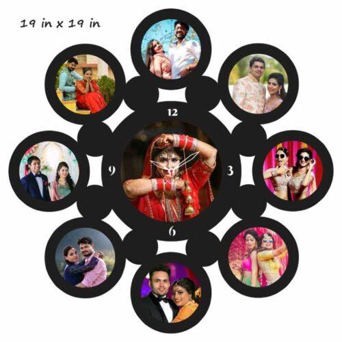 Customized Round Shape Wooden Photo Frame with Clock - 9 Photo