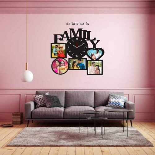 Customized Wooden Family Photo Frame With Clock - 15 in x 13 in