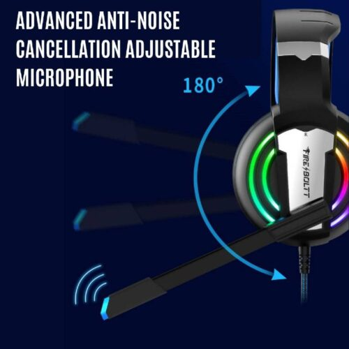 Fire Boltt BGH1000 Wired Headset Gaming Headphones with Microphone Light Surround Sound Bass Earphones for PS4 Xbox 1 Professional Gamer PC Laptop 1