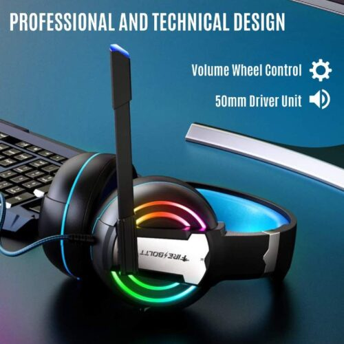 Fire Boltt BGH1000 Wired Headset Gaming Headphones with Microphone Light Surround Sound Bass Earphones for PS4 Xbox 1 Professional Gamer PC Laptop 2