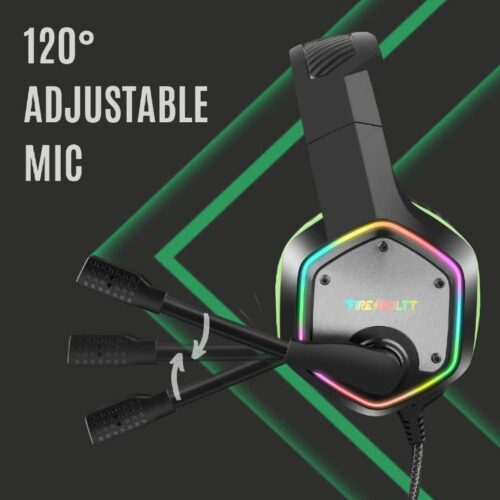 Fire Boltt BGH1300 Gaming Headset with 7 1 Surround Stereo Sound for PS4 PS5 PC USB Gaming Headphones with Noise Canceling Mic RGB Light Over Ear Headphones Compatible with PC PS4 PS5 Console 2