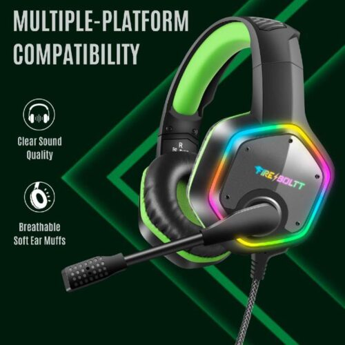 Fire Boltt BGH1300 Gaming Headset with 7 1 Surround Stereo Sound for PS4 PS5 PC USB Gaming Headphones with Noise Canceling Mic RGB Light Over Ear Headphones Compatible with PC PS4 PS5 Console 3