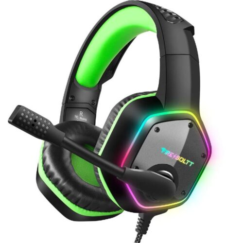 Fire Boltt BGH1300 Gaming Headset with 7 1 Surround Stereo Sound for PS4 PS5 PC USB Gaming Headphones with Noise Canceling Mic RGB Light Over Ear Headphones Compatible with PC PS4 PS5 Console
