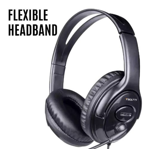 Fire Boltt BWH1100 Over Ear PC Headset with Stylish Headband Noise Cancelling mic and hd Sound Compatible with PC Mac Laptop 1