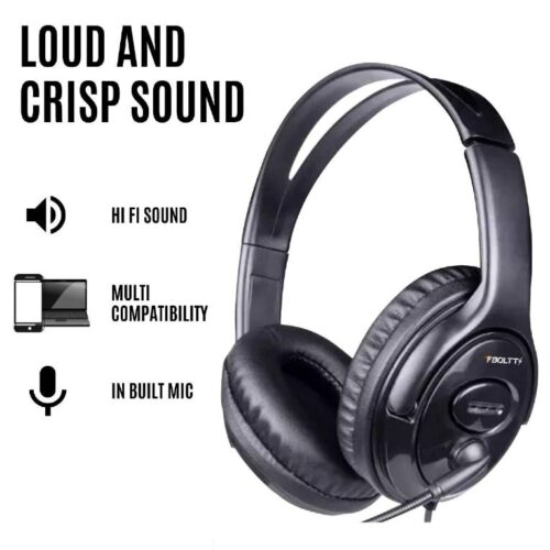 Fire Boltt BWH1100 Over Ear PC Headset with Stylish Headband Noise Cancelling mic and hd Sound Compatible with PC Mac Laptop 3
