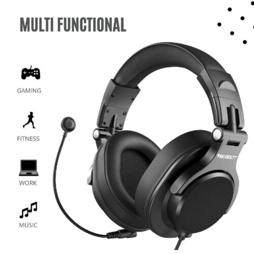 Fire Boltt BWH1300 PC Headsets with Boom Mic Office Over Ear Wired Headphones for Business Meeting Skype Call Centre Phone Laptop Gaming PS4 Xbox One Headsets with Volume Control and Share Port 4