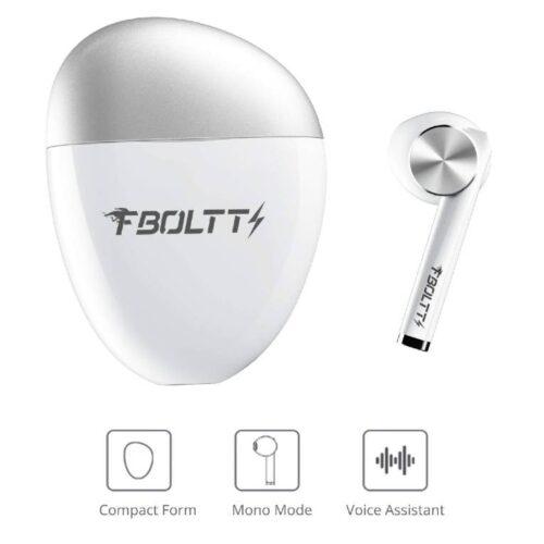 Fire Boltt Buds 1300 True Wireless Earbuds Sleek Design Full Smart Touch Control Bluetooth Earphones Water Resistant BT5 White 6