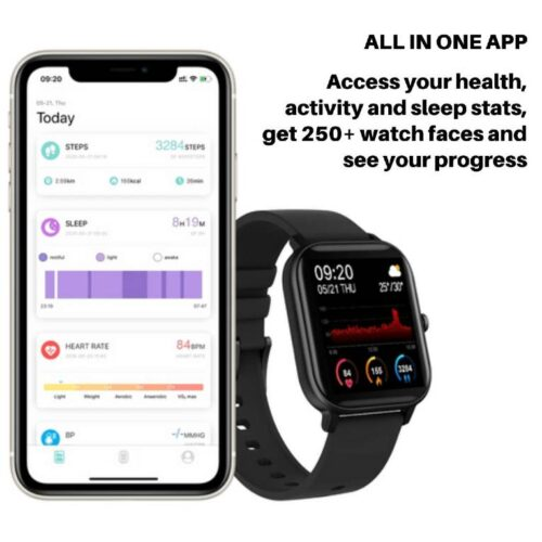 Fire Boltt Full Touch Smart Watch with SPO2 Heart Rate BP Fitness and Sports Tracking 14 inch high Resolution Display 9