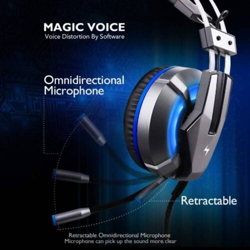 Fire Boltt Gaming Headset for PS4 PC Xbox One Controller Nintendo Switch Gaming Headphone with Adjustable Noise Cancelling Mic LED Light Soft Memory Earmuffs Over Ear Headphone for Gaming 3